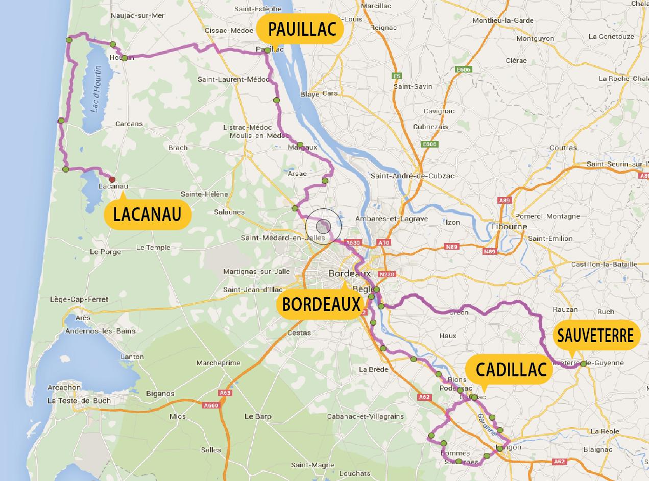 Busreis fietsvakantie Entre-Deux-Mers Bordeaux Médoc Atlantische Oceaan